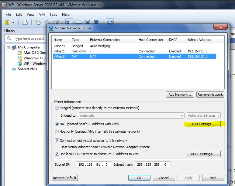"""If you choose """"NAT"""" network type, and click """"NAT Settings"""", you can  configure port forwarding like this:"""